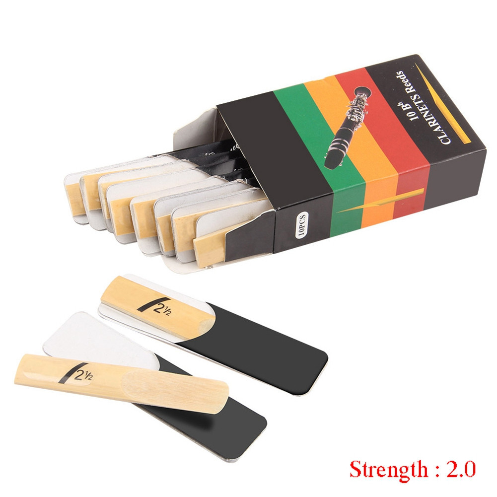 10pcs Clarinet Reeds Set Bb Tone Strength 1.5/2.0/2.5/3.0/3.5/4.0 Wind Instrument Reed Hardness 2.0