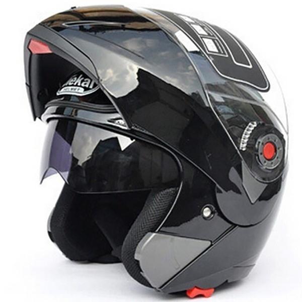 Motorcycle Helmets Flip Up Double Visors Racing Full Face Helmet Bright black XL
