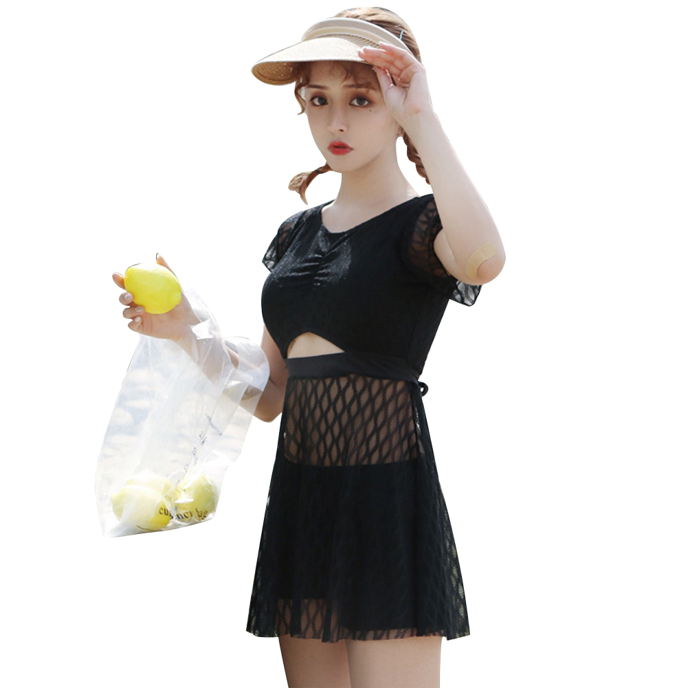 2 Pieces/set Swimsuit  Feminine  Skirt-style One-piece Beauty Back Belly Slimming Sexy Bathing Suit black_L