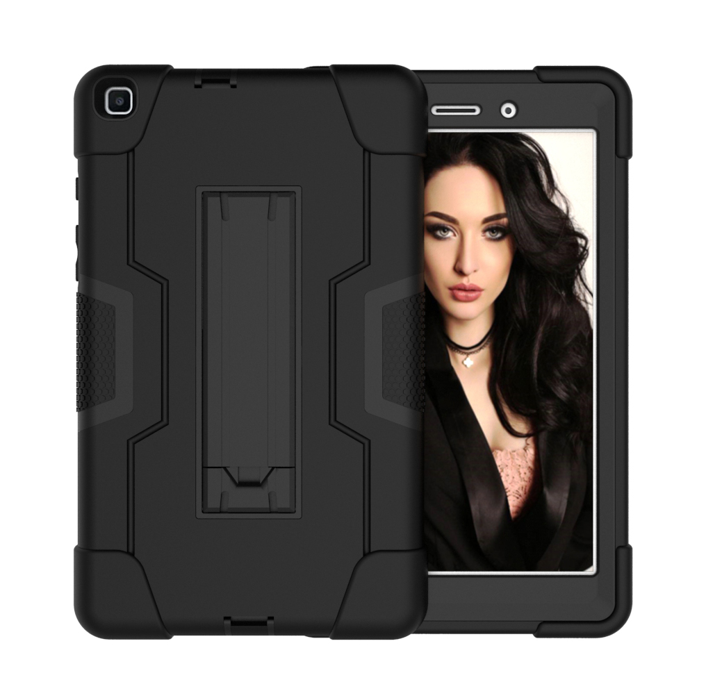 For Samsung Tab A T290 T295 PC+ Silicone Hit Color Armor Case Tri-proof Shockproof Dustproof Anti-fall Protective Tablet Cover  Black + black