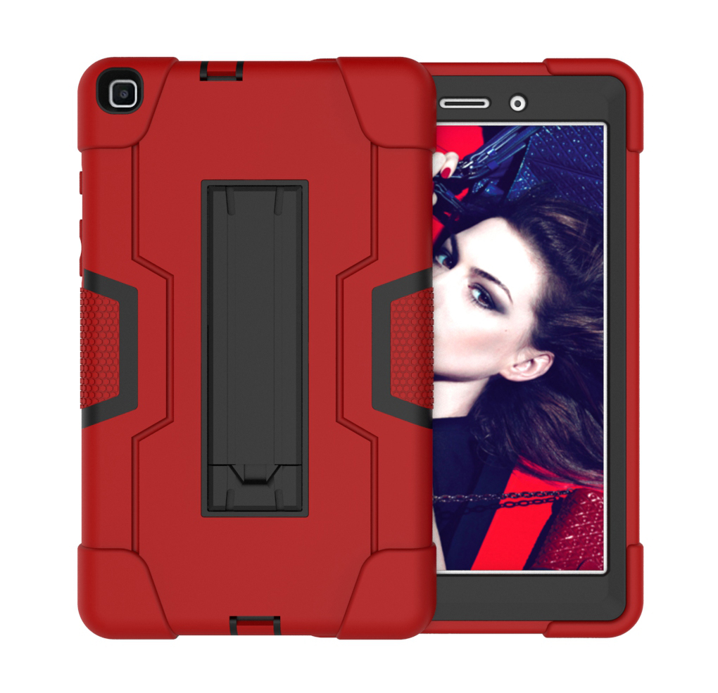 For Samsung Tab A T290 T295 PC+ Silicone Hit Color Armor Case Tri-proof Shockproof Dustproof Anti-fall Protective Tablet Cover  Red + black