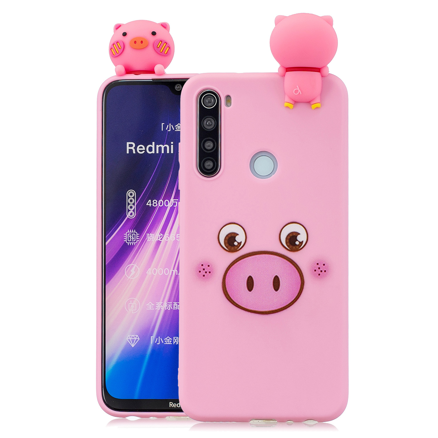 For Redmi NOTE 8T 3D Cartoon Painting Back Cover Soft TPU Mobile Phone Case Shell Little pink pig