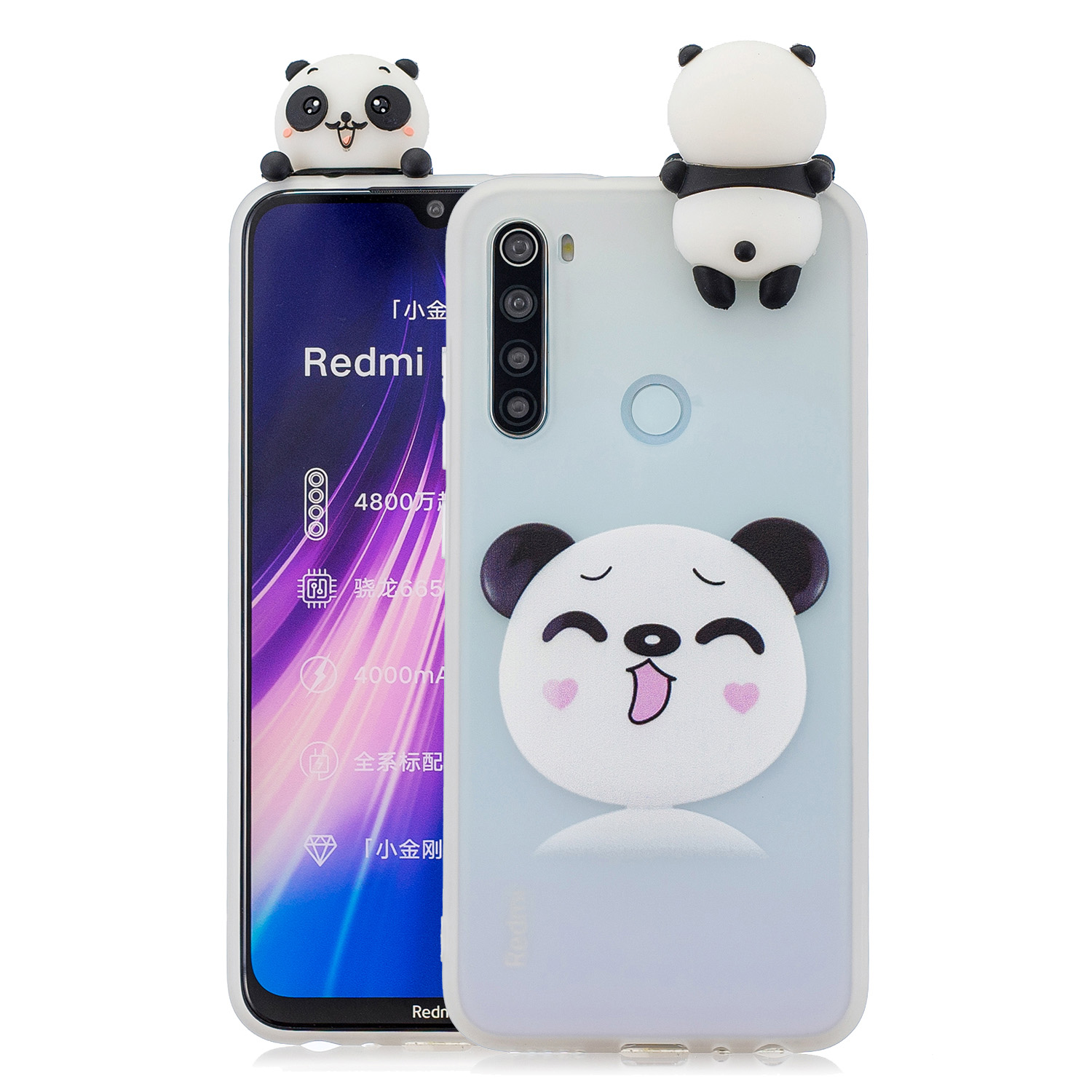 For Redmi NOTE 8T 3D Cartoon Painting Back Cover Soft TPU Mobile Phone Case Shell Smiley Panda