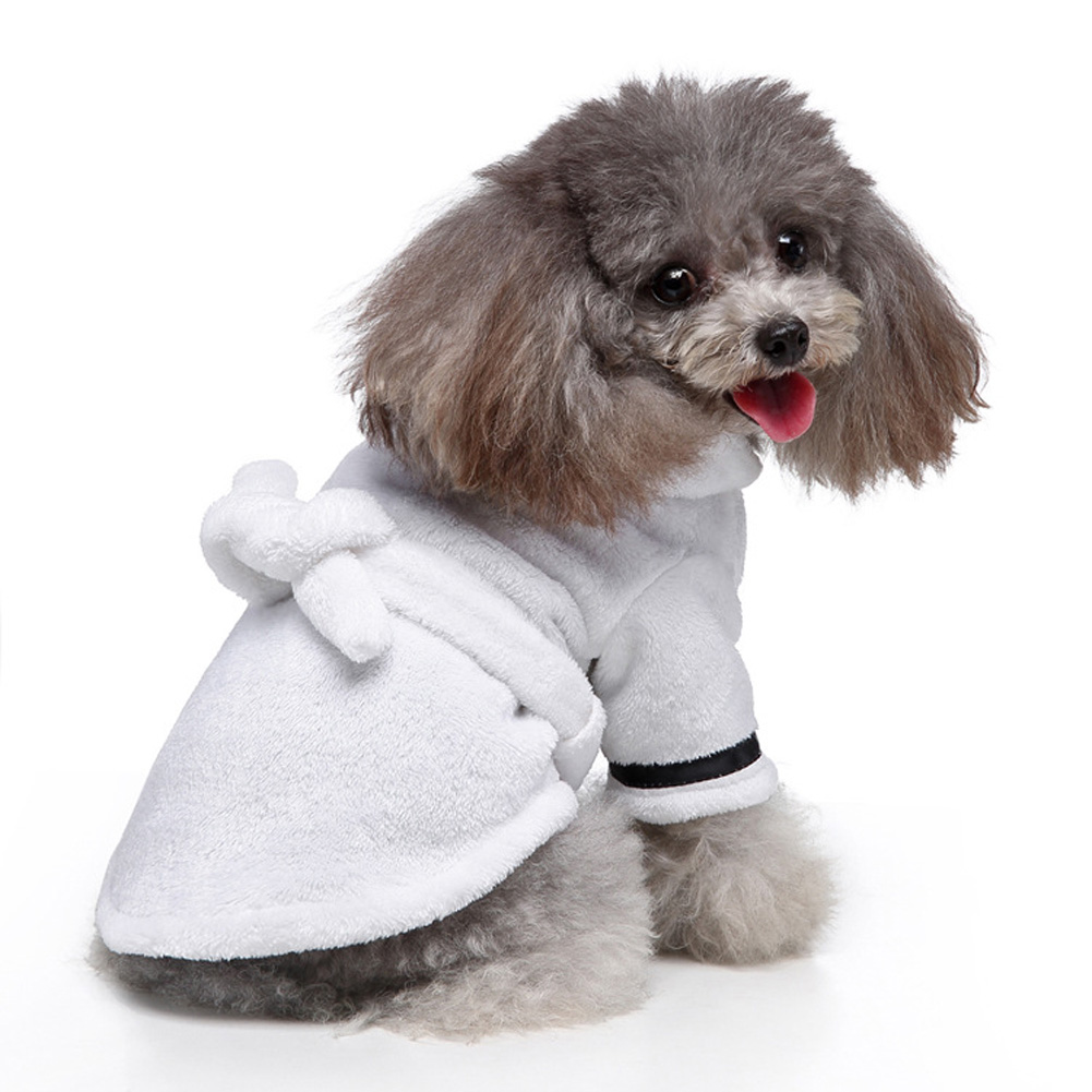 Pet Clothes Hotel Bath Towel Dog Cat Bathrobe Nightgown Pajamas white_L