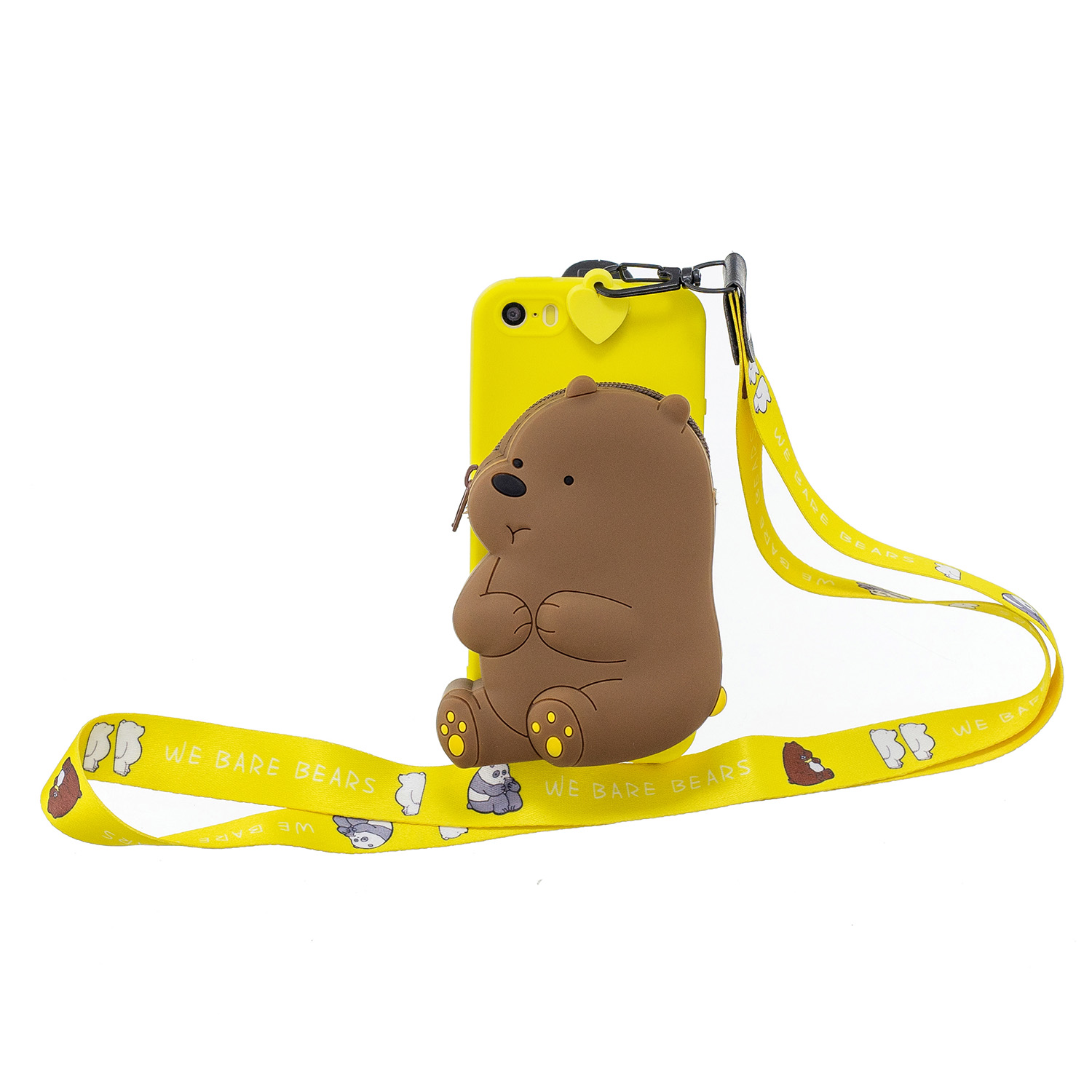 For Iphone 5 / 5S / SE Cartoon Hanging Lanyard + Fall Resistant Cartoon TPU Full Protective Mobile Phone Cover with Coin Purse 1 yellow brown bear