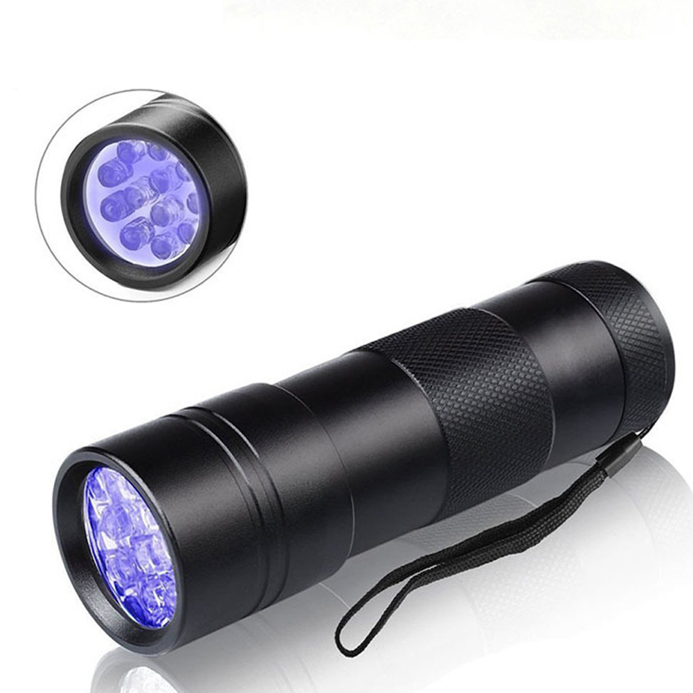 12LEDs UV Flashlight Black Light for Dry Stains Scorpion Lamp Money Detector Black purple light flashlight