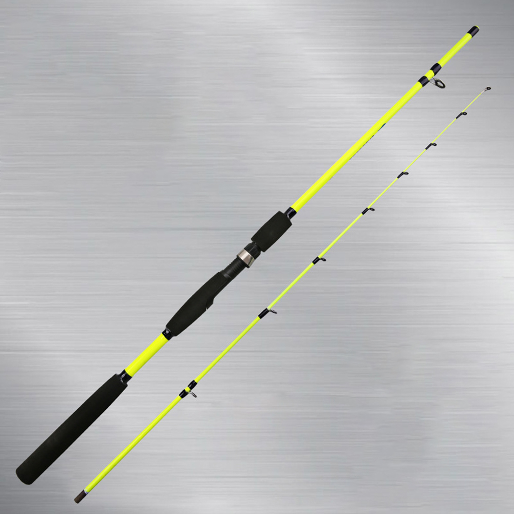 Light Weight Carbon Fishing Rod Portable Spinning Casting Rods Green straight handle