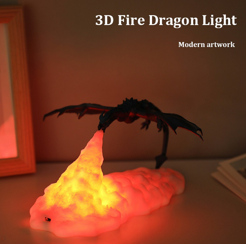 ZYS-3D Print Fiery Dragon Lamp Home Decor USB Charging Night Light monochrome
