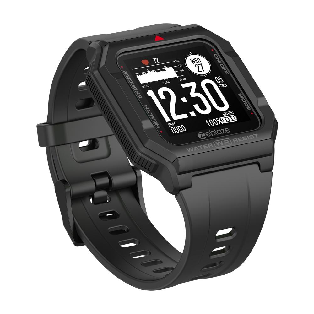 Original Zeblaze Retro Smart  Watch 30m Waterproof Hd Display Heart Rate Monitor Blood Pressure Fitness Tracker Watch black
