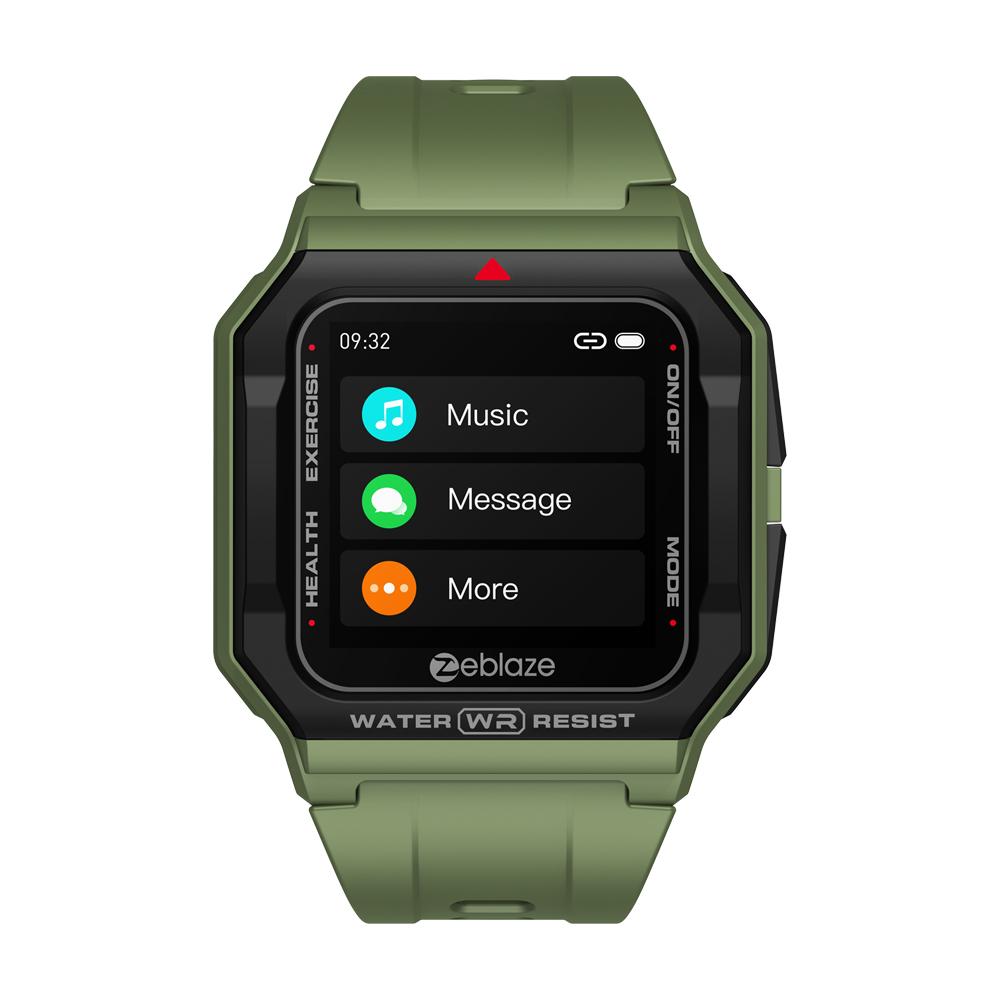 Original Zeblaze Retro Smart  Watch 30m Waterproof Hd Display Heart Rate Monitor Blood Pressure Fitness Tracker Watch green