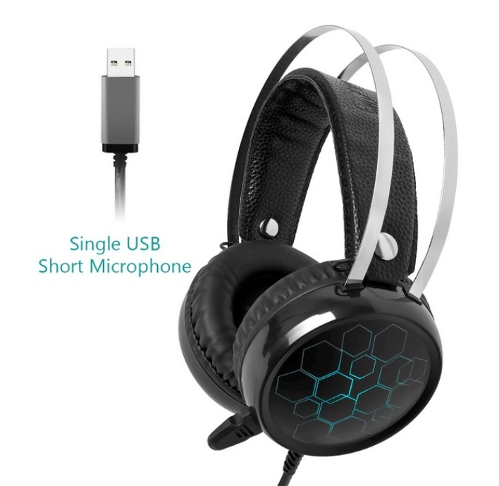 Professional 7.1 Gaming Headset Gamer Surround Sound USB Wired Headphones with Microphone for PC Computer Xbox One PS4 RGB Light 7.1 short Mic
