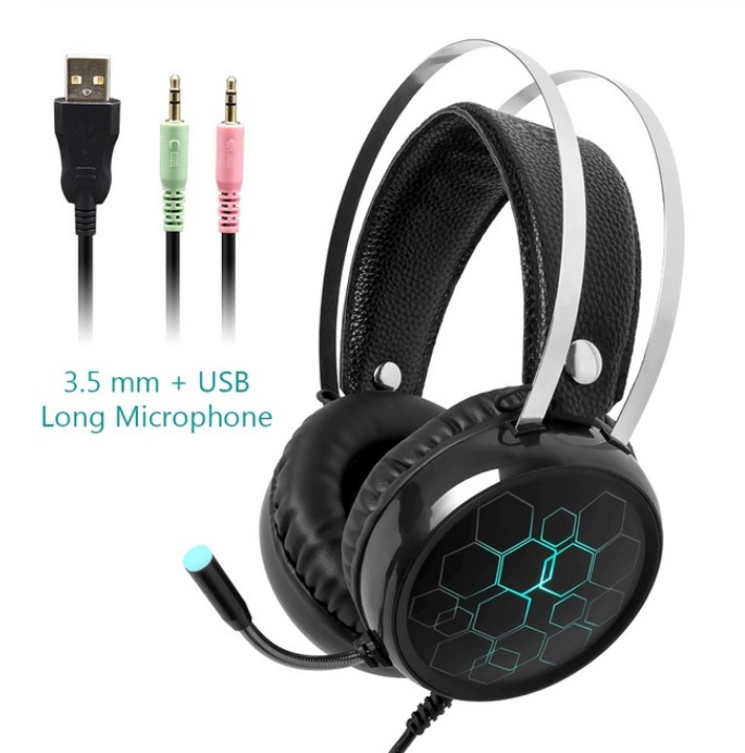 Professional 7.1 Gaming Headset Gamer Surround Sound USB Wired Headphones with Microphone for PC Computer Xbox One PS4 RGB Light 3.5 long Mic