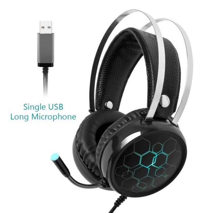 Professional 7.1 Gaming Headset Gamer Surround Sound USB Wired Headphones with Microphone for PC Computer Xbox One PS4 RGB Light 7.1 long Mic