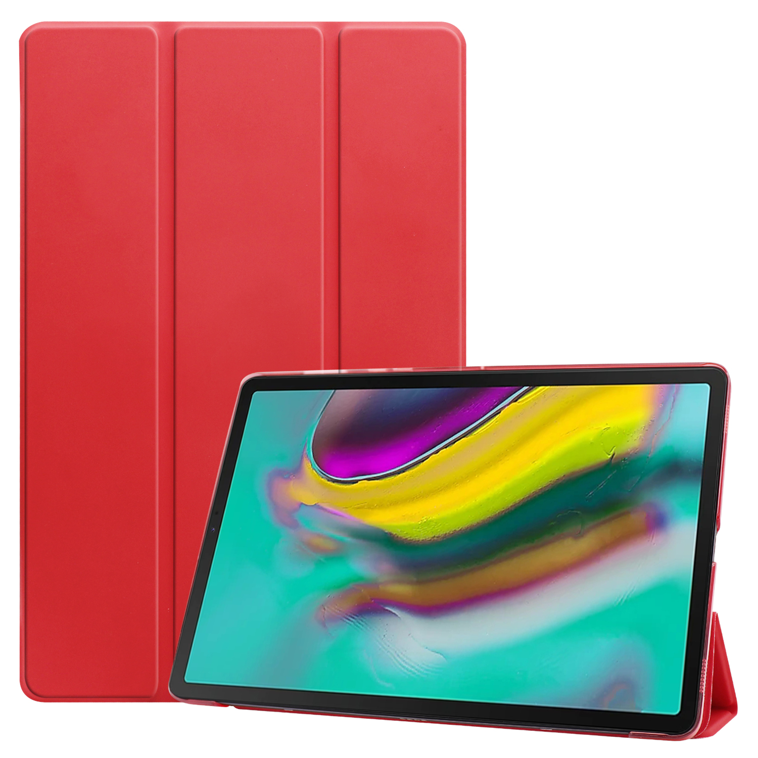 For Samsung Tab S5E 10.5 T720 Ultra-thin PU Leather Bracket Tri-fold Protective Case with Sleep Function red