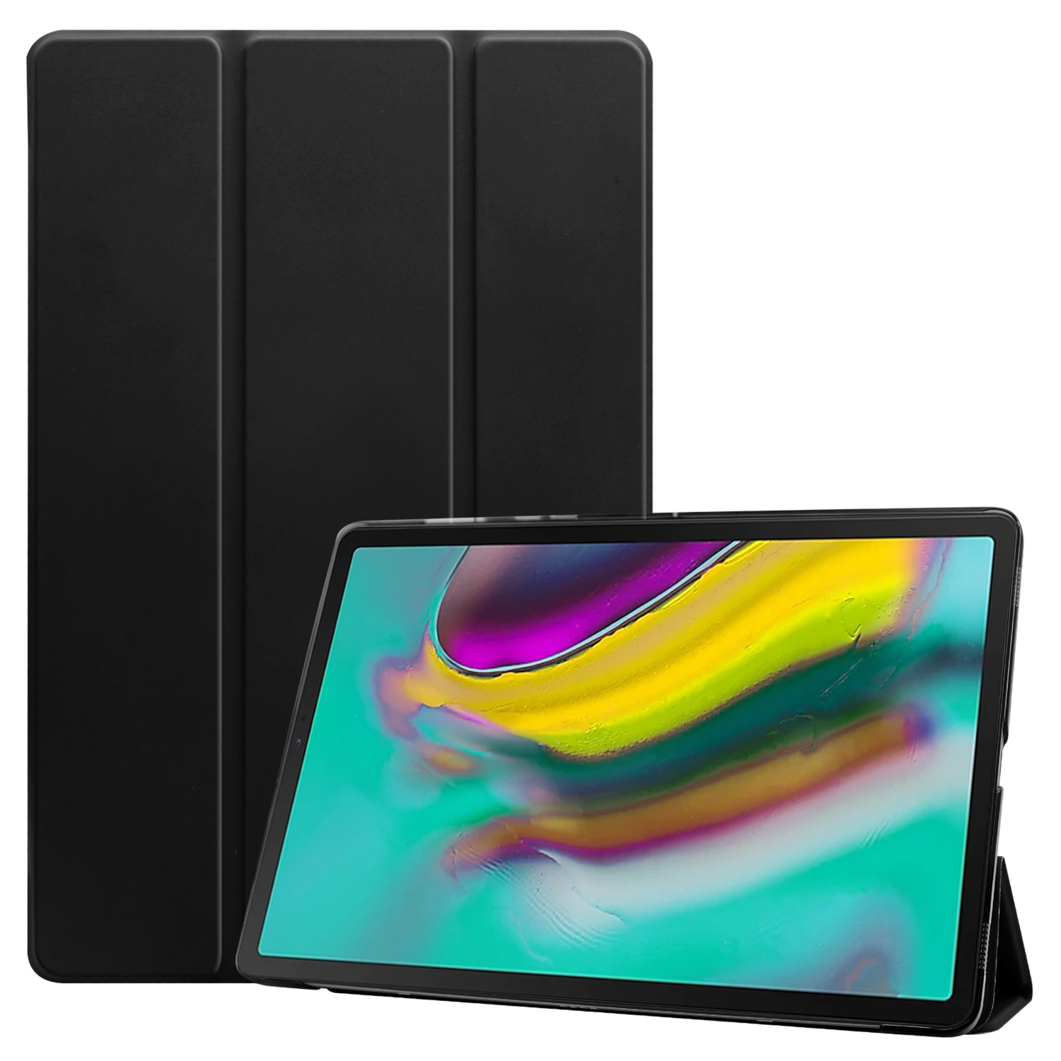 For Samsung Tab S5E 10.5 T720 Ultra-thin PU Leather Bracket Tri-fold Protective Case with Sleep Function black