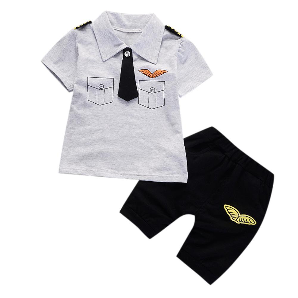 2 Pcs/Set Baby Boys Gentleman Set Tie Epaulettes T-shirt + Shorts gray_80cm