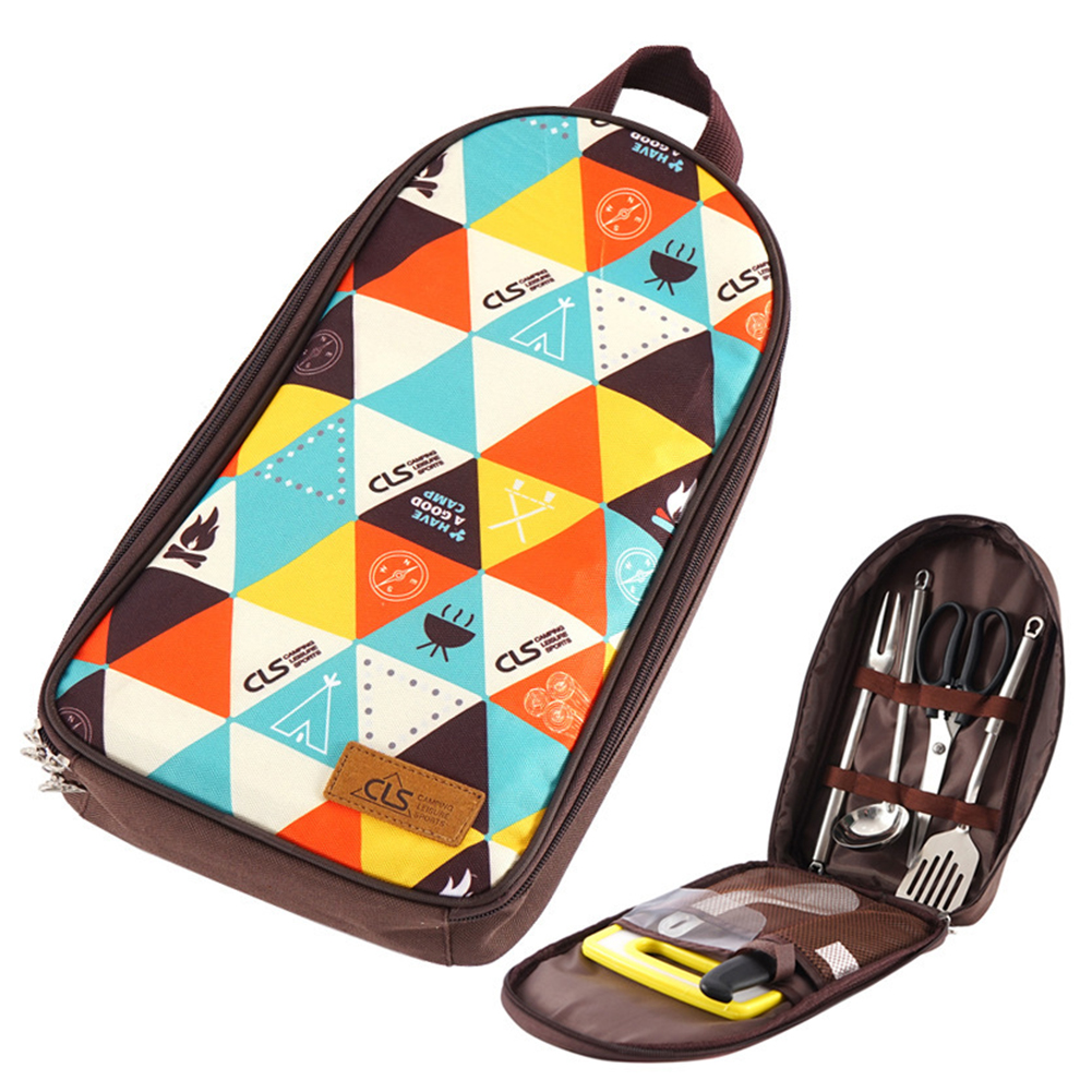 7 PCs Camping Kitchen Utensil Set Camp Cookware Utensils Organizer Travel Kit  Triangle Pattern
