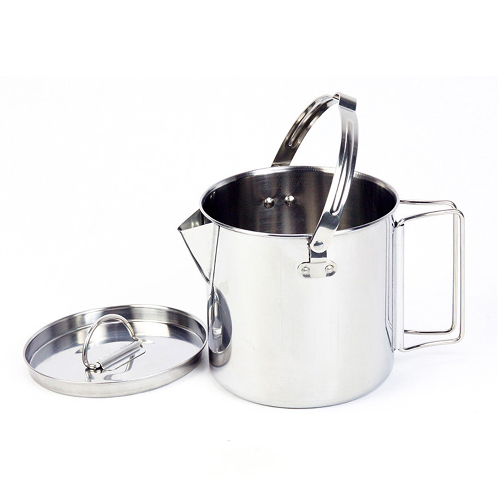 Stainless Steel Camp Cup Camping Soup Coffee Pot Foldable Handle Water Kettle with Cover Stainless steel kettle