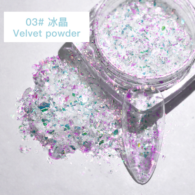 Red Nail Art Ice Crystal Purple Snow Velvet Powder Symphony High Flash Polarized Diamond Nail Thin Patch High flash velvet powder-03