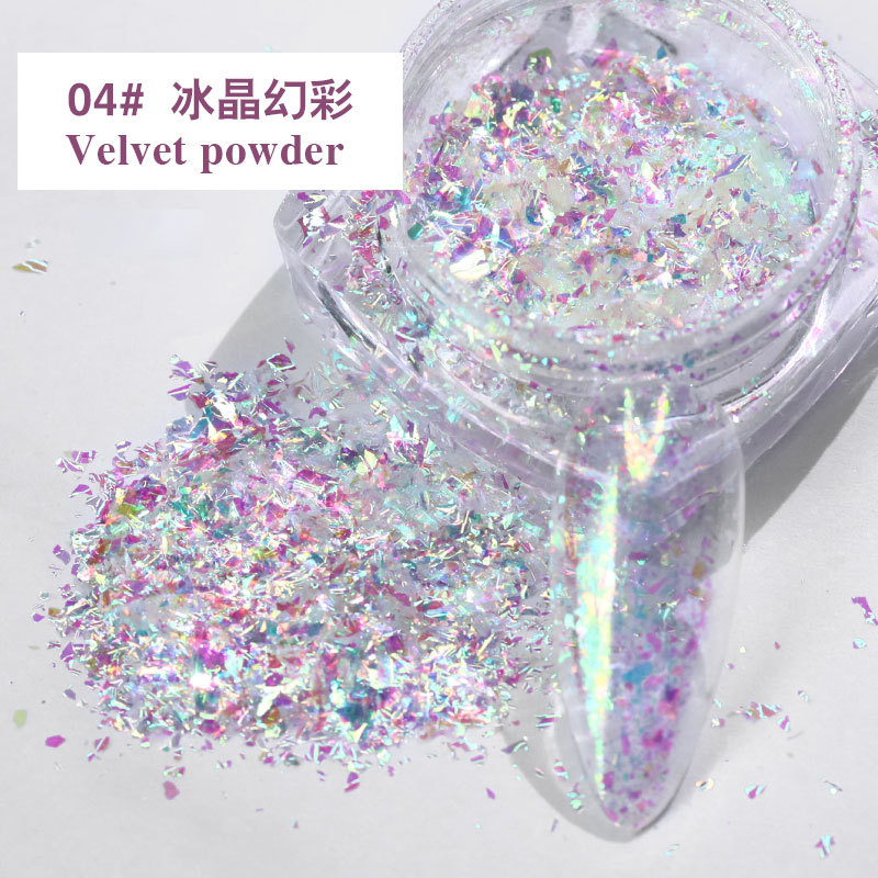Red Nail Art Ice Crystal Purple Snow Velvet Powder Symphony High Flash Polarized Diamond Nail Thin Patch High flash velvet powder-04
