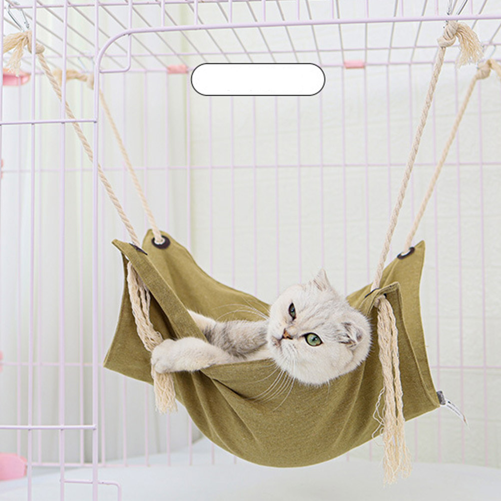 Summer Pet Hanging Nest Breathable Cotton Linen Tassels Hammock for Cats Khaki_47*47CM