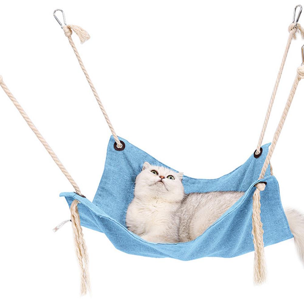 Summer Pet Hanging Nest Breathable Cotton Linen Tassels Hammock for Cats Light blue_47*47CM