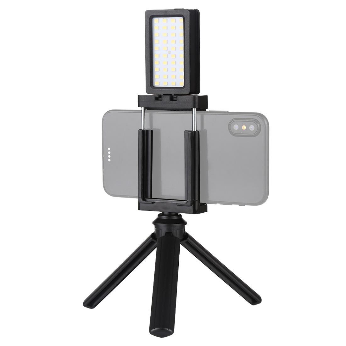 Mobile Phone Live Set Pocket Self-Timer Fill Light Phone Clamp Bracket Mount Desktop Tripod black