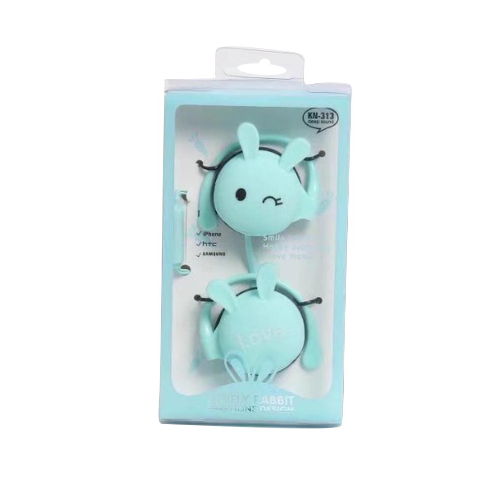 Wird Headphone Universal Ear Hool Metal Heavy Bass Cartoon Style Headset Blue