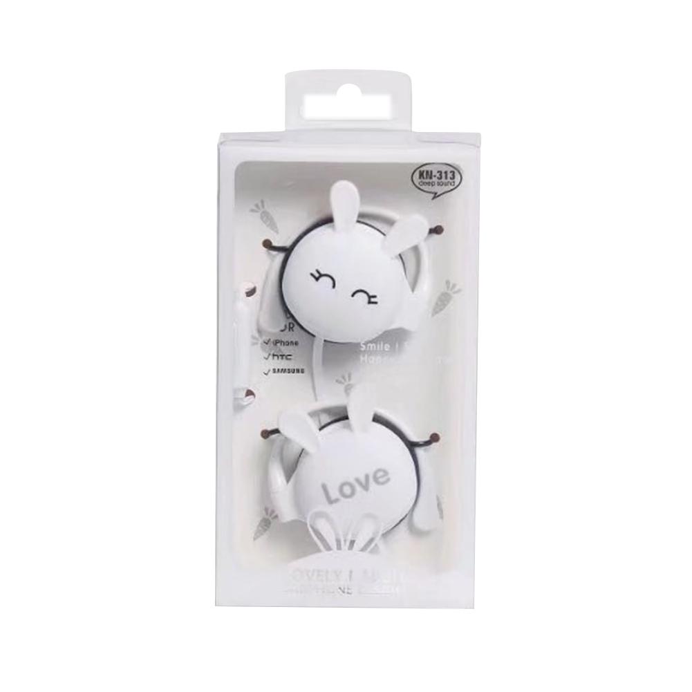 Wird Headphone Universal Ear Hool Metal Heavy Bass Cartoon Style Headset White