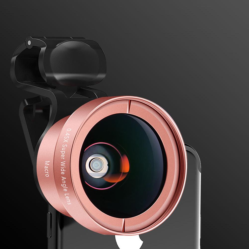 1 Set Of Lens Metal Material Mobile Phone Lens 0.45 Wide Angle Macro 2 In 1 Set External SLR Camera Tools Rose gold