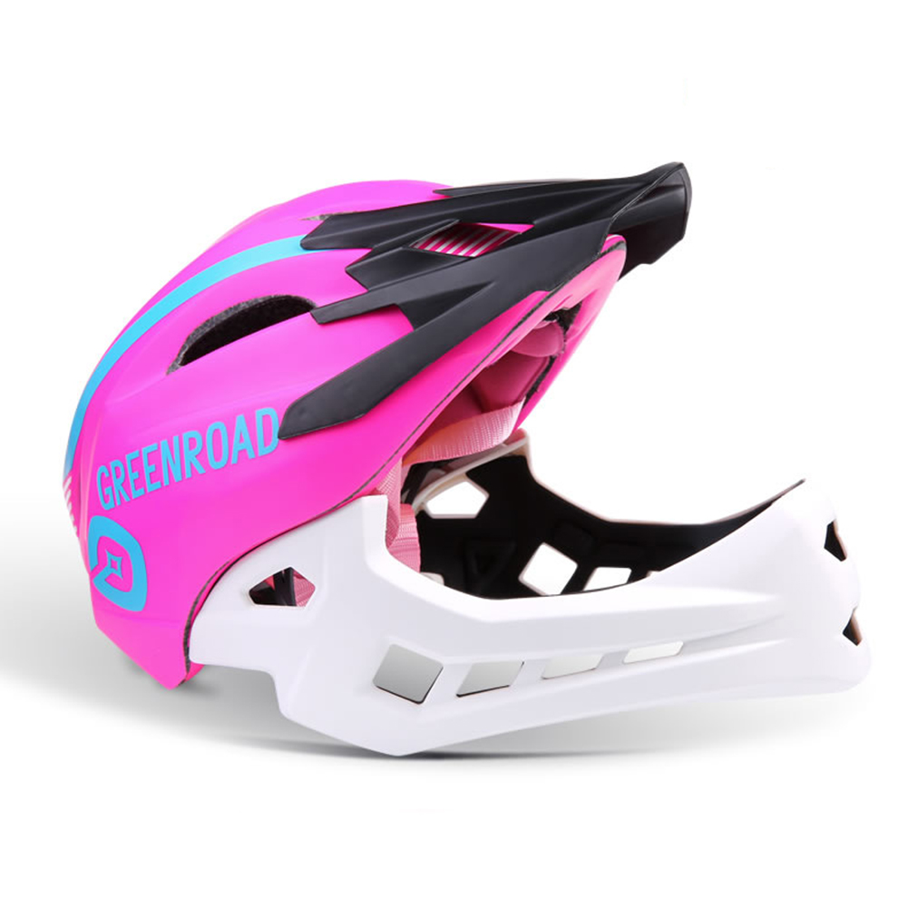 Roller Skating Helmet Children Bicycle Roler Adjustable Riding Safe Helmet Full face helmet pink_M