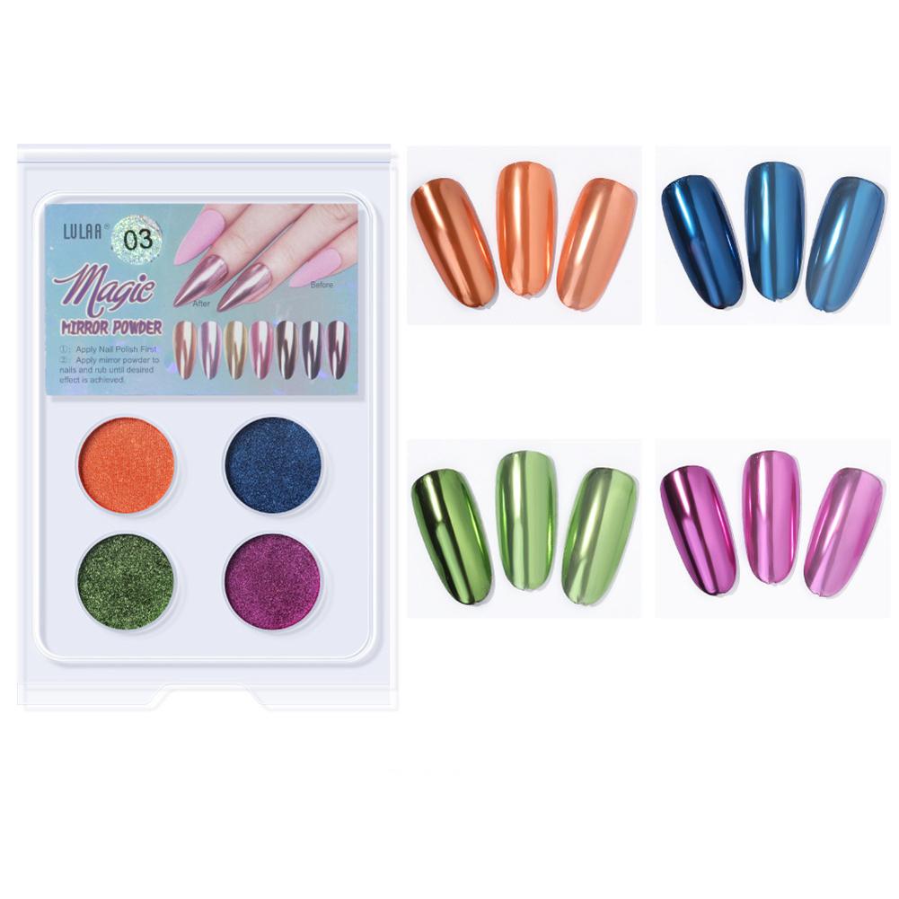 4 Colors Nail Art Magic Color Powder Aurora Flash Powder Mirror powder Set 3