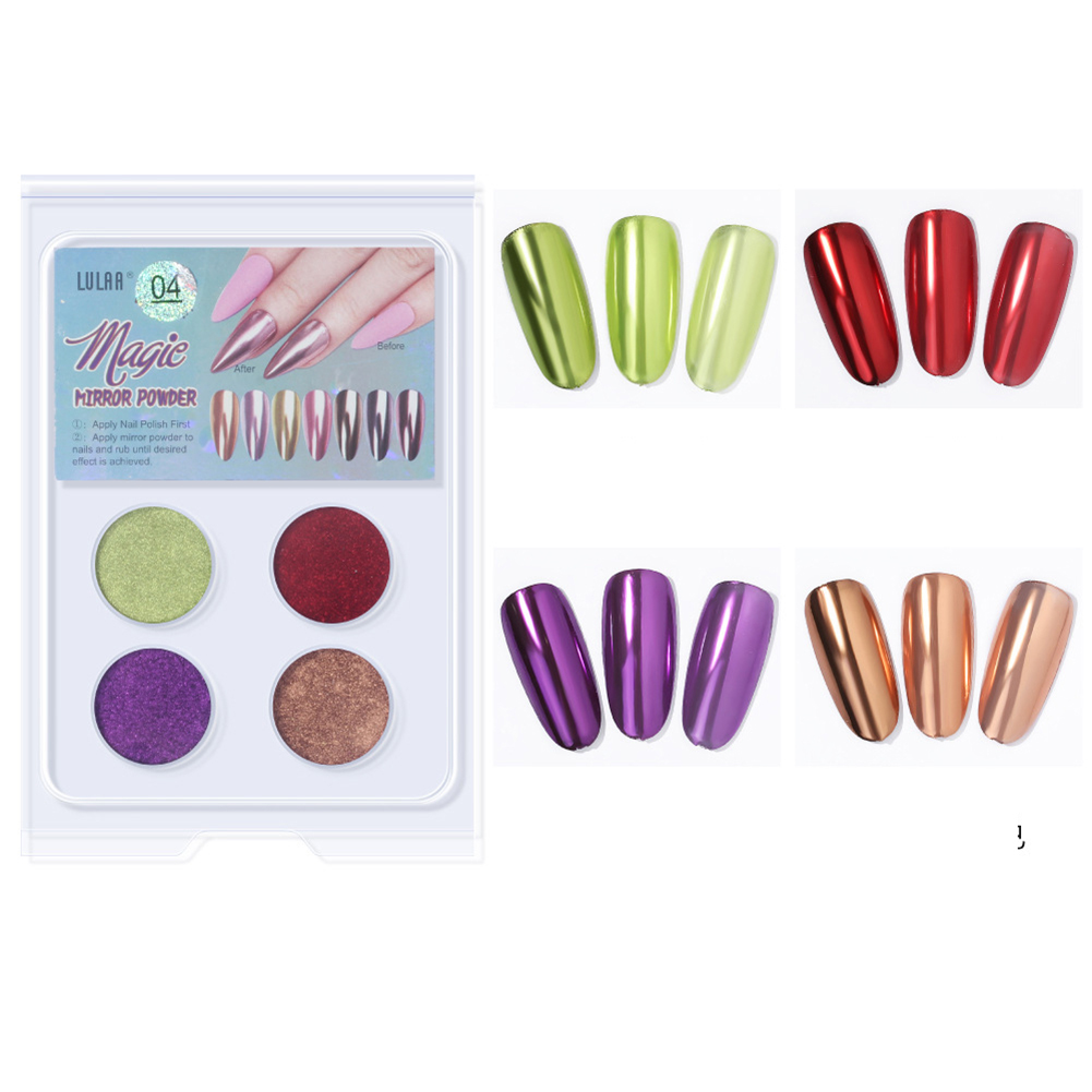 4 Colors Nail Art Magic Color Powder Aurora Flash Powder Mirror powder Set 4