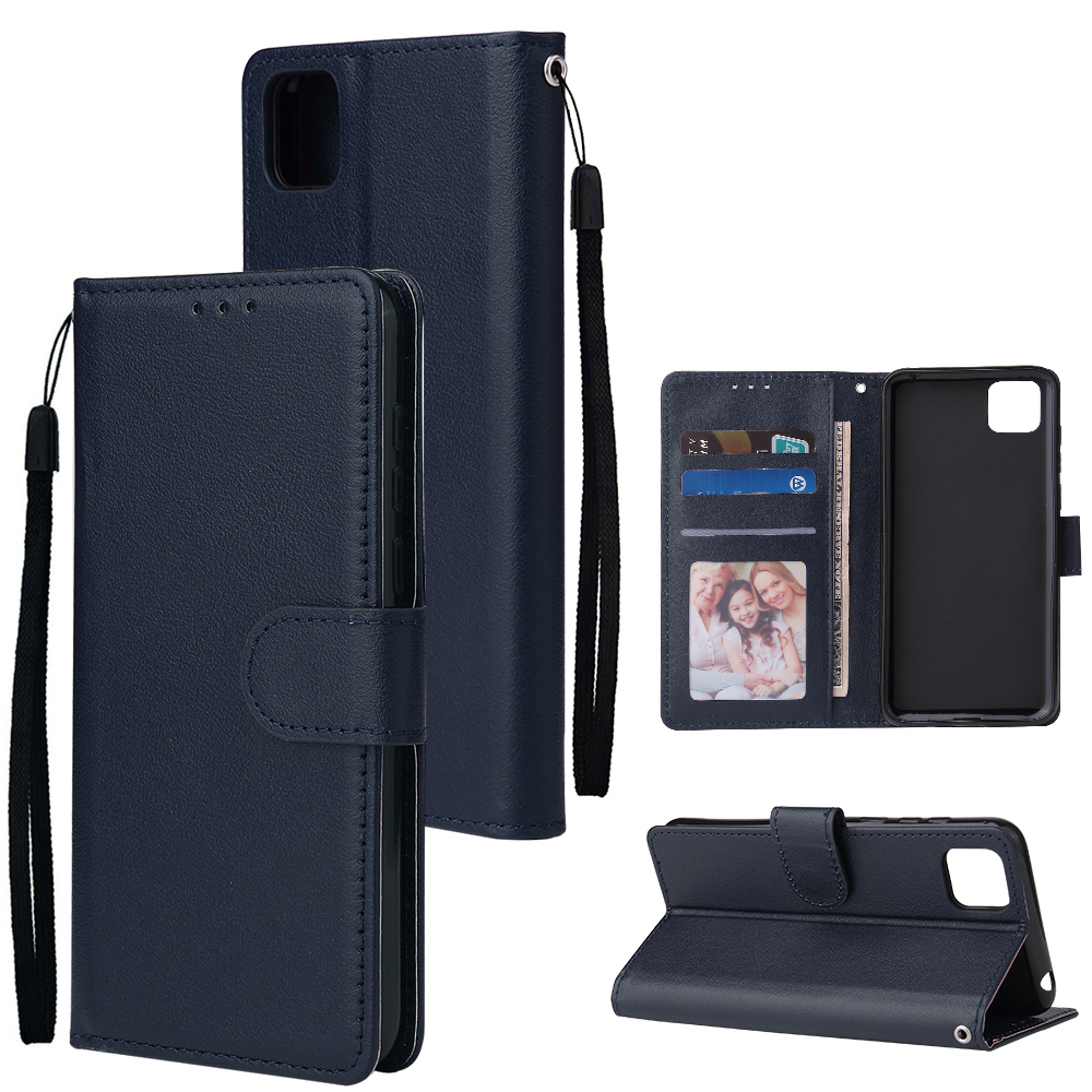 For HUAWEI PSmart 2020/Y5P/Y6P PU Leather Mobile Phone Cover with 3 Cards Slots Phone Frame blue