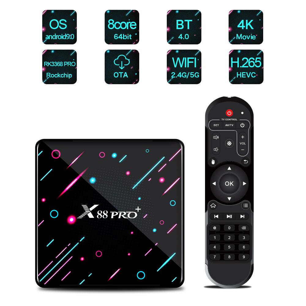 X88 PRO TV Box for Android 9.0 System RK3368 Octa-Core Chipset 4GB DDR3 SDRAM+128GB/64GB/32GB Flash 4K HD Set Top Box EU Plug
