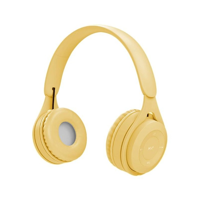 Bluetooth Wireless Headphones Macaron Color Hifi Music Auto Pairing Earphones Can Inserted TF Card Headsets yellow