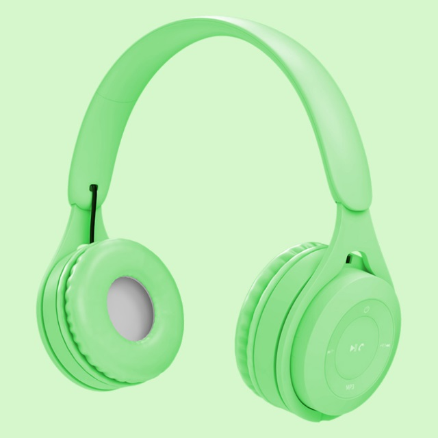 Bluetooth Wireless Headphones Macaron Color Hifi Music Auto Pairing Earphones Can Inserted TF Card Headsets green