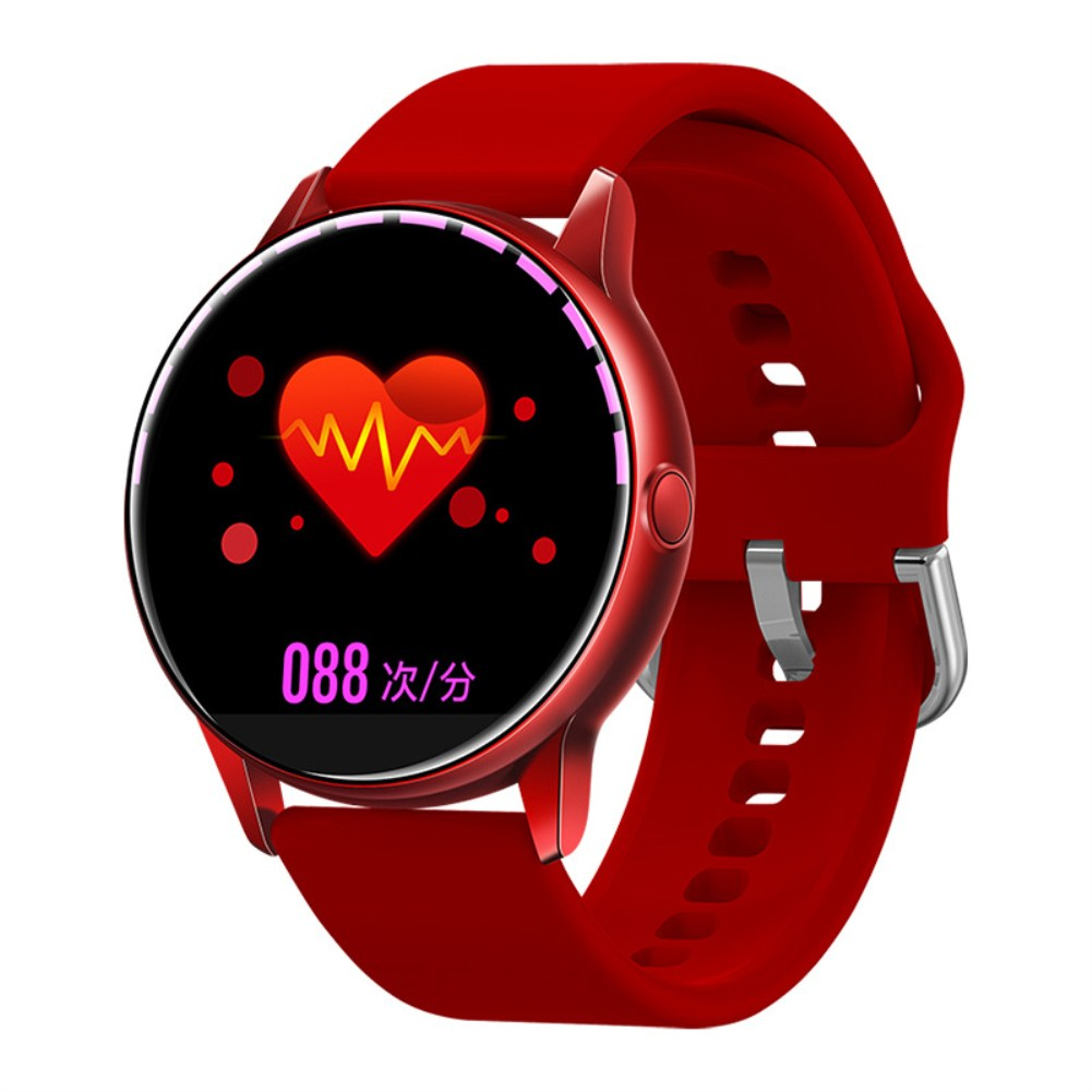 C009 Smart Bracelet Silicone Round Full-Screen Touch Heart Rate Sleep Health Monitoring Sports Smart Watch Red silicone
