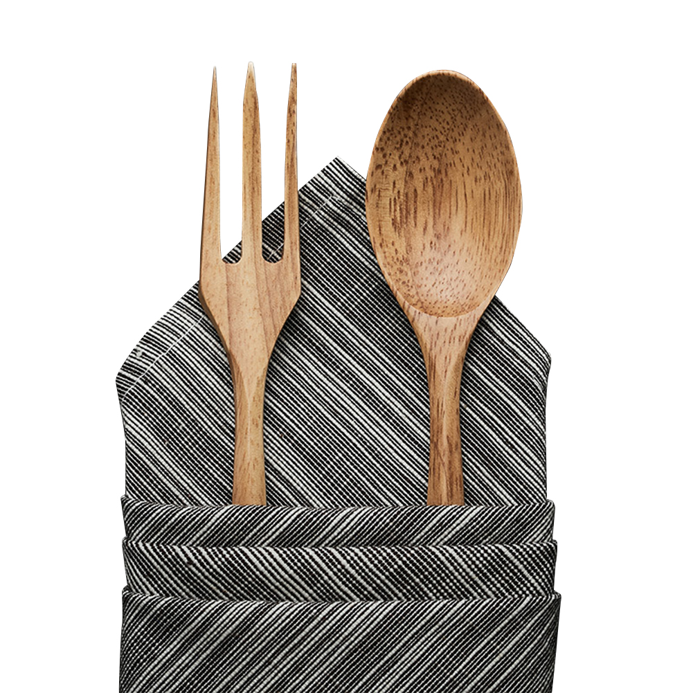 2pcs/set Wooden Solid Color Spoon Fork Cookware  Set For Household Restaurant Set of spoons and forks