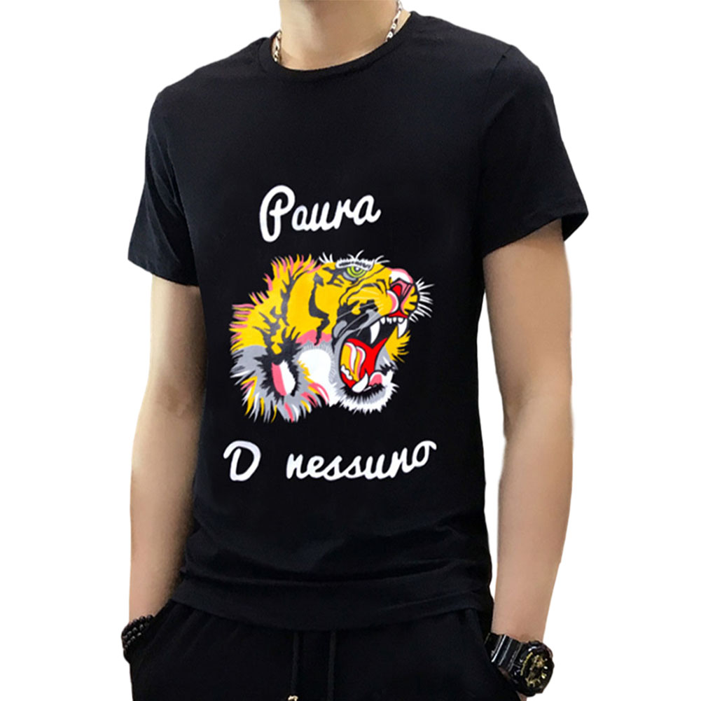 Men's and Women's T-shirt Summer Casual Sports Animal Printing Short-sleeve Shirt Black_M