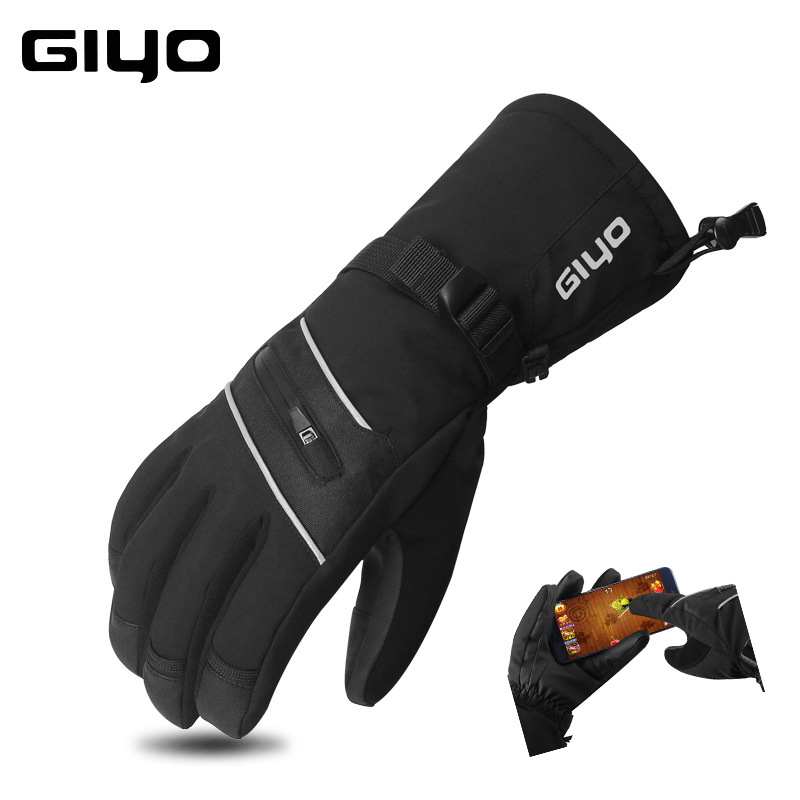 Winter Portable Bike Gloves Warm Skiing Gloves Waterproof Windproof Riding Cold-Proof Thickened Gloves black_M