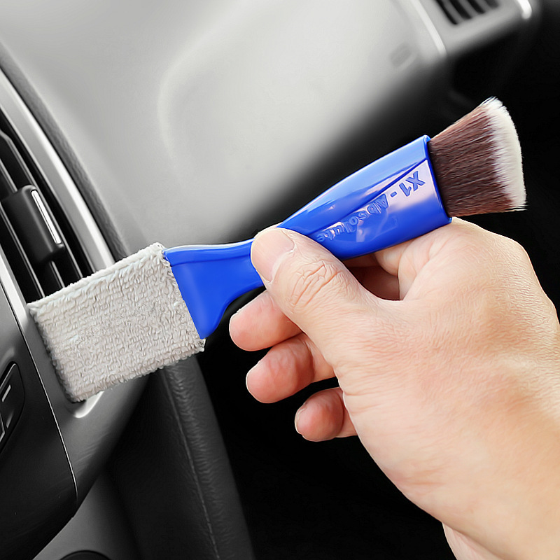 Cleaning  Brush 2 In 1 Car Air-conditioner Outlet Cleaning Tool Multi-purpose Dedusting Interior Brush Washer Blue 7882