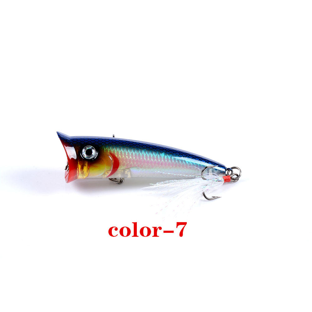 Fishing Lure 7.8cm 10.5g Topwater Wobbler Artificial Hard Bait with Feather Hook 7#