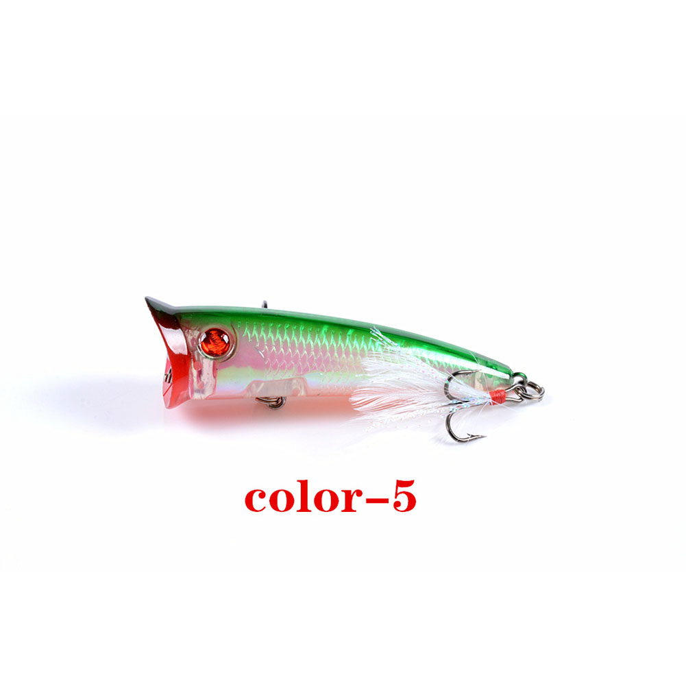 Fishing Lure 7.8cm 10.5g Topwater Wobbler Artificial Hard Bait with Feather Hook 5#