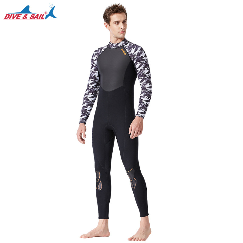3mm Couples Wetsuit Warm Neoprene Scuba Diving Spearfishing Surfing Wetsuit Male black/white_M