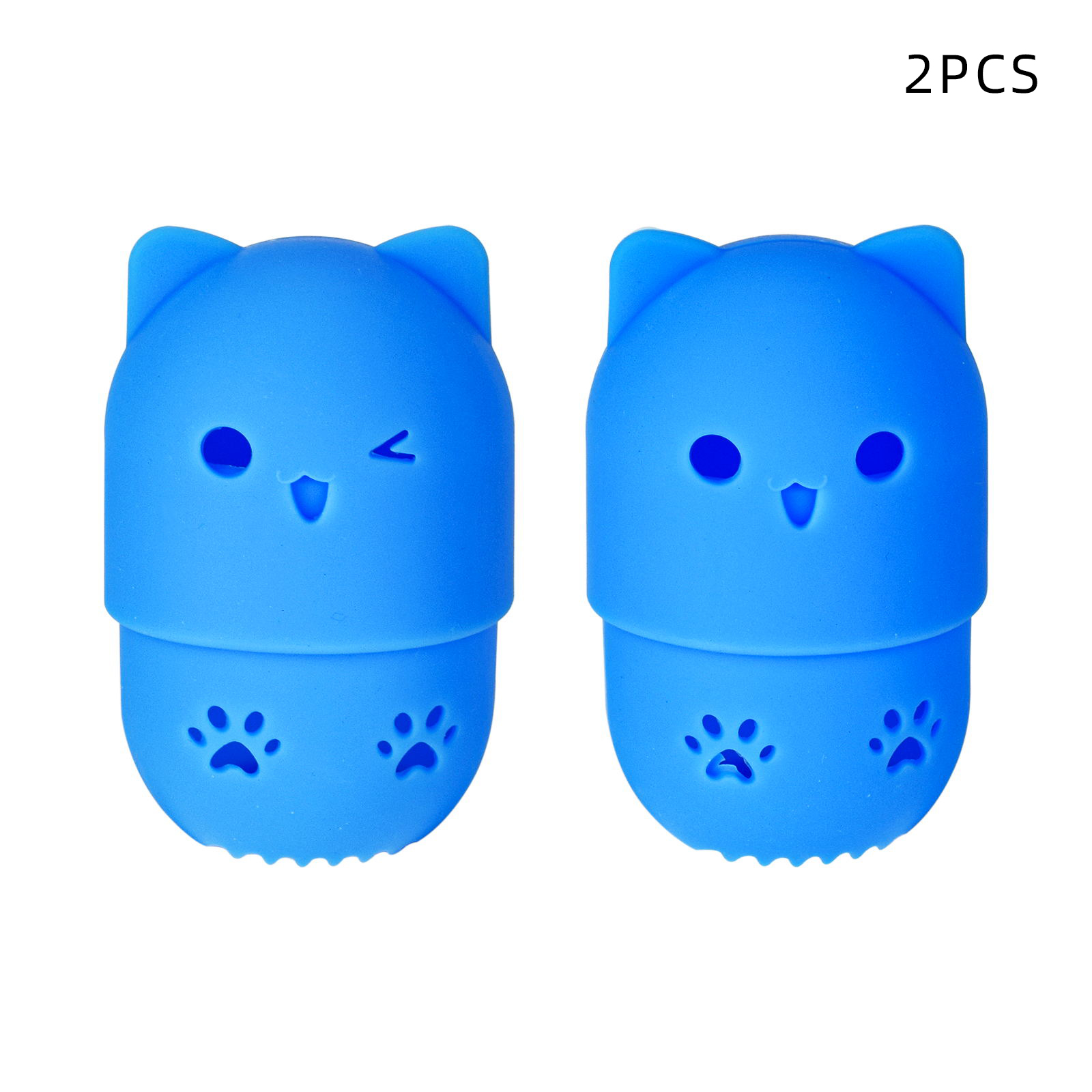 2pcs Beauty Powder Puff Case Silicone Beauty Egg Storage Eggshell Storage Box Protection Cover Case blue