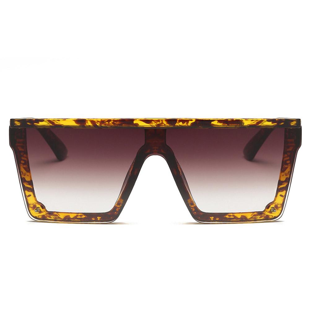 Universal Women Fashion Large Square Frame Sunglasses UV400 Sunglasses Bean color frame double tea_#2