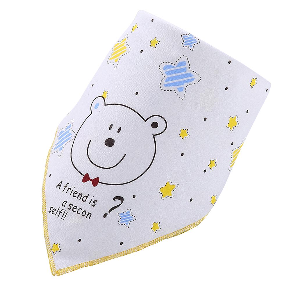Infant Newborn Pure Cotton Lovely Cartoon Triangle Baby Bib Dual Layer Stud Towel Bear Yellow