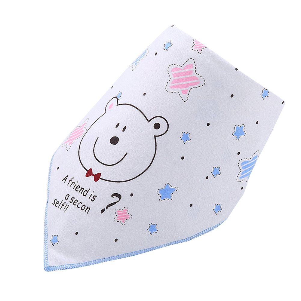 Infant Newborn Pure Cotton Lovely Cartoon Triangle Baby Bib Dual Layer Stud Towel Bear Blue