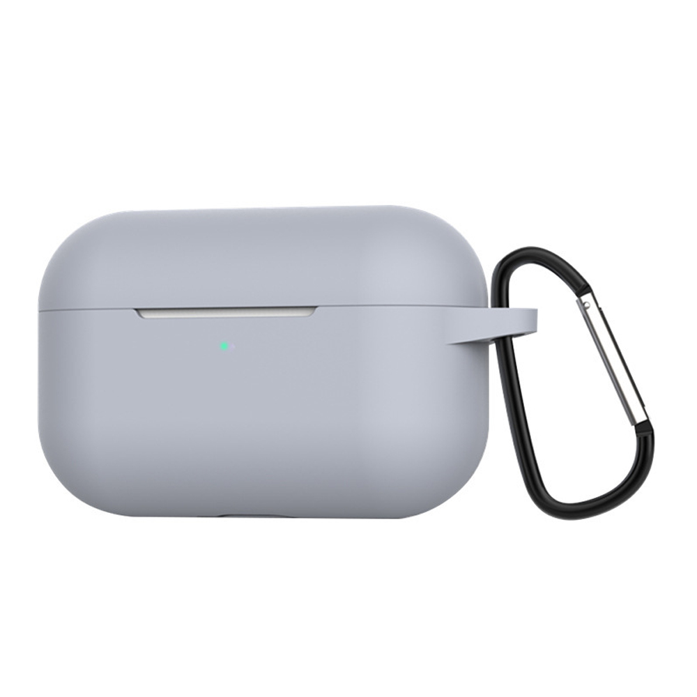Silicone Cases for Airpods Pro Earphones All-round Protective Cover Headset Storage Box Shockproof Shell With Carabiner Gray